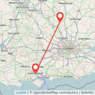 Bedford Southampton train map