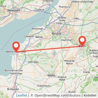 Bath Weston-super-Mare train map