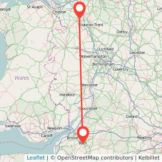 Bath Crewe train map