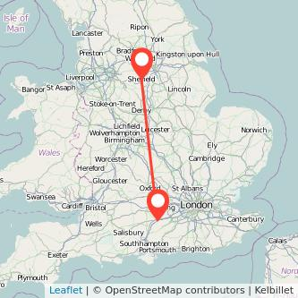 Basingstoke Sheffield train map