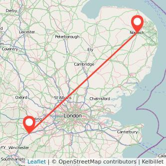 Basingstoke Norwich train map