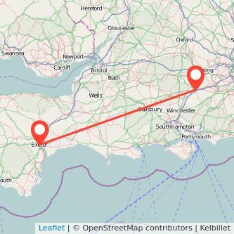 Basingstoke Exeter train map