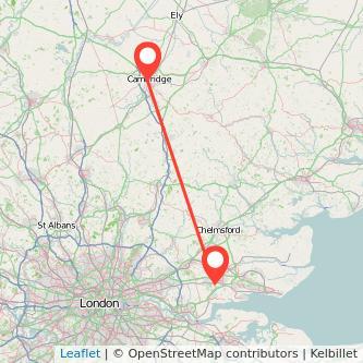 Basildon Cambridge train map