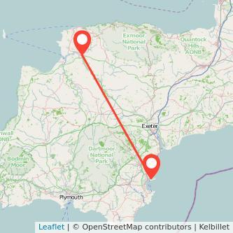 Barnstaple Torquay train map