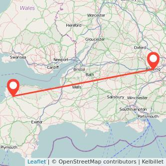 Barnstaple Reading train map