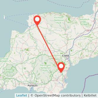 Barnstaple Newton Abbot train map
