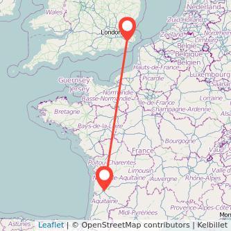 Ashford Bordeaux train map