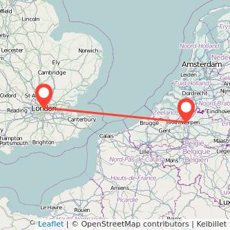 Antwerp London bus map