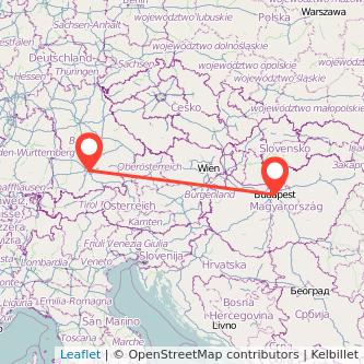 Budapest Munich bus map