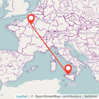 Mappa dei viaggio Palermo Parigi pullman