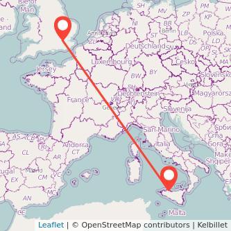 Mappa dei viaggio Palermo Londra pullman