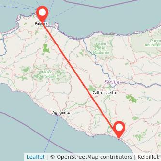Mappa dei viaggio Palermo Gela pullman