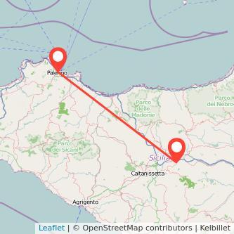 Mappa dei viaggio Palermo Enna pullman