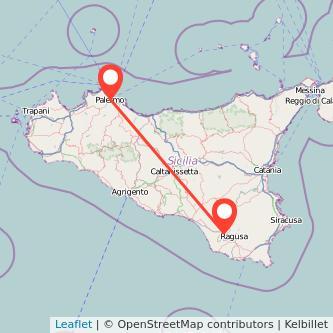 Mappa dei viaggio Palermo Comiso pullman