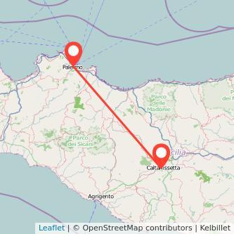 Mappa dei viaggio Palermo Caltanissetta pullman