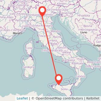 Mappa dei viaggio Palermo Verona pullman