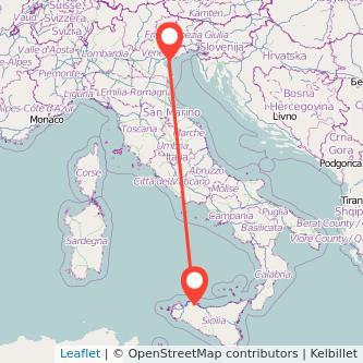 Mappa dei viaggio Palermo Venezia pullman