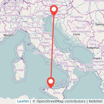 Mappa dei viaggio Palermo Trieste pullman