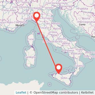 Mappa dei viaggio Palermo Sarzana pullman