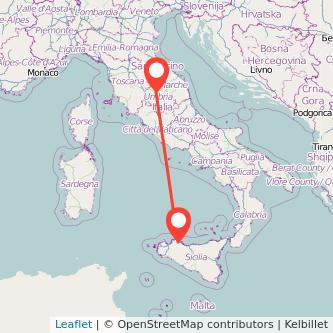 Mappa dei viaggio Palermo Perugia pullman