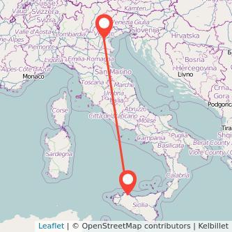 Mappa dei viaggio Palermo Padova pullman