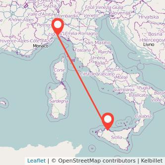 Mappa dei viaggio Palermo Genova pullman