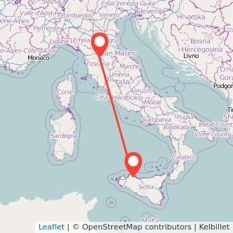 Mappa dei viaggio Palermo Firenze pullman