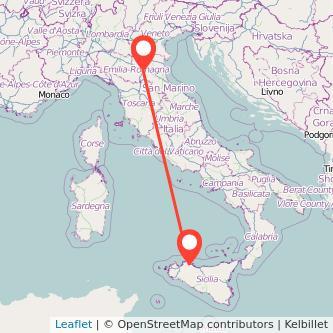 Mappa dei viaggio Palermo Bologna pullman