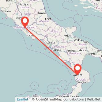 Mappa dei viaggio Cosenza Roma pullman