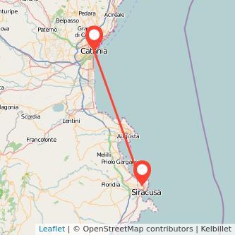 Mappa dei viaggio Catania Siracusa pullman
