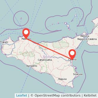 Mappa dei viaggio Catania Palermo treno