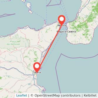 Mappa dei viaggio Catania Messina pullman