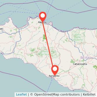 Mappa dei viaggio Agrigento Palermo pullman