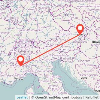 Mappa dei viaggio Torino Vienna treno