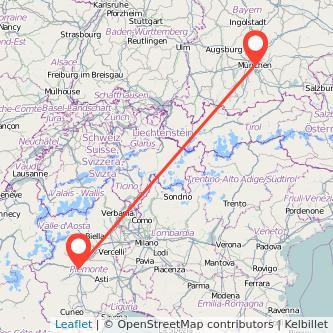 Mappa dei viaggio Torino Monaco di Baviera treno