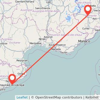 Mappa dei viaggio Torino Barcellona treno