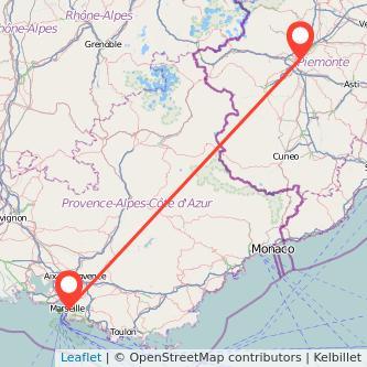 Mappa dei viaggio Torino Marsiglia treno