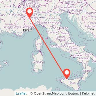 Mappa dei viaggio Torino Palermo treno