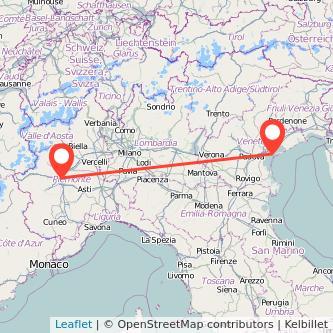 Mappa dei viaggio Torino Venezia treno