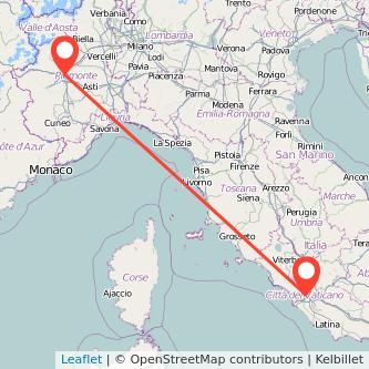 Mappa dei viaggio Torino Roma treno
