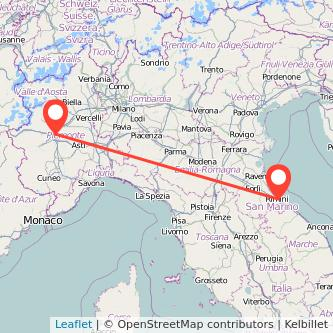 Mappa dei viaggio Torino Rimini treno