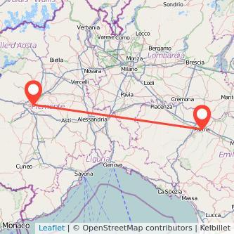 Mappa dei viaggio Torino Parma treno