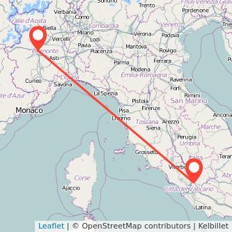 Mappa dei viaggio Torino Monterotondo treno