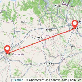 Mappa dei viaggio Torino Milano treno