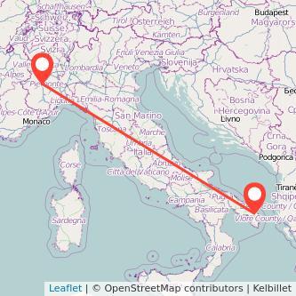 Mappa dei viaggio Torino Lecce treno