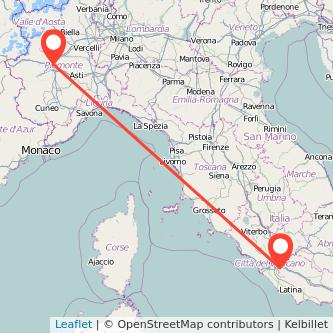 Mappa dei viaggio Torino Frascati treno