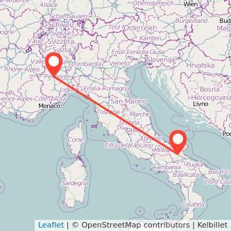 Mappa dei viaggio Torino Foggia treno
