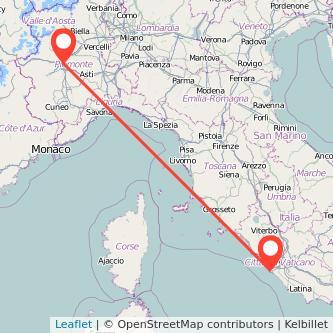 Mappa dei viaggio Torino Fiumicino treno