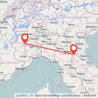 Mappa dei viaggio Torino Bologna treno