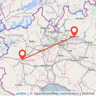 Mappa dei viaggio Torino Bergamo treno